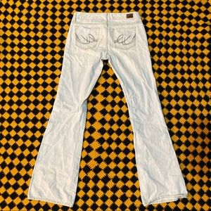 Chalk White Blue Wide Leg Flare Jeans 90's